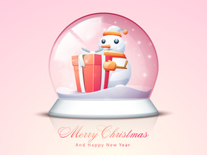 Cute snowman in Santa cap and scarf with gift box in a snow dome on pink background for Merry Christmas and Happy New Year celebrations.