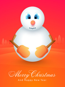 Cute snowman on X-mas Tree decorated background for Merry Christmas and Happy New Year celebrations.