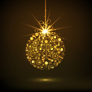 Merry Christmas celebrations with floral design decorated golden X-mas Ball hanging on shiny brown background.