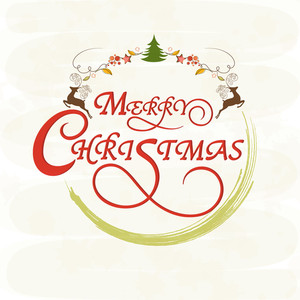 Merry Christmas celebrations greeting card design decorated with wishing text and X-mas objects on stylish background.