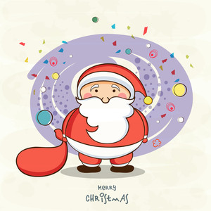 Cute Santa Claus holding gift sack on stylish background for Merry Christmas celebrations.