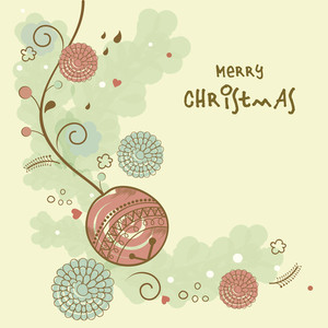Creative greeting card design with flowers and X-mas Ball on stylish background for Merry Christmas celebrations.