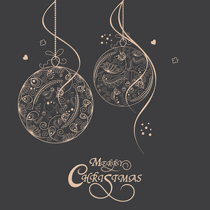 Merry Christmas celebrations greeting card design with floral design decorated X-mas Balls on grey background.