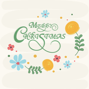 Merry Christmas celebrations greeting card design decorated with stylish wishing text and colorful flowers.