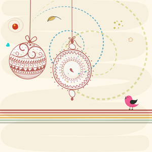 Beautiful floral design deorated X-mas Balls and little bird on stylish background for Happy New Year and Merry Christmas celebrations.