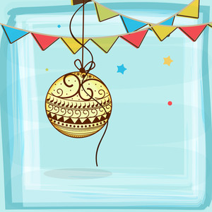 Beautiful floral design decorated X-mas Ball and colorful bunting flags on sky blue background for Merry Christmas celebrations.