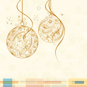 Beautiful floral design decorated X-mas Ball hanging on beige background for Merry Christmas and Happy New Year celebrations.