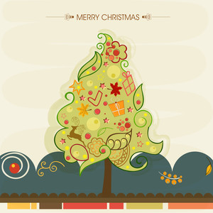 Merry Christmas celebrations with X-mas Tree decorated by other ornaments on stylish beige background.