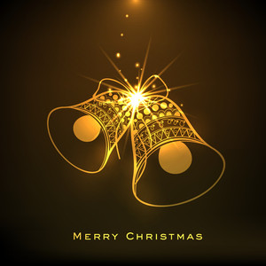 Golden floral design decorated jingle bells on shiny brown background for Merry Christmas celebrations.