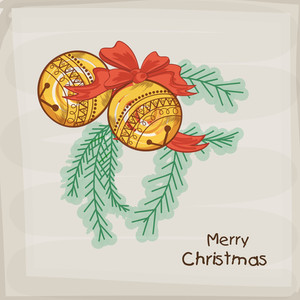 Floral design decorated golden christmas balls and fir trees on grey background for Marry Christmas celebrations.