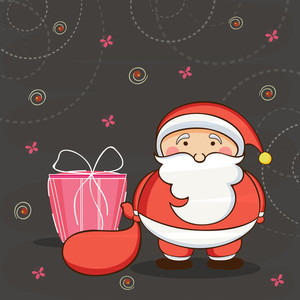 Cute Santa Clause with his gift sack on abstract background for Merry Christmas celebrations.
