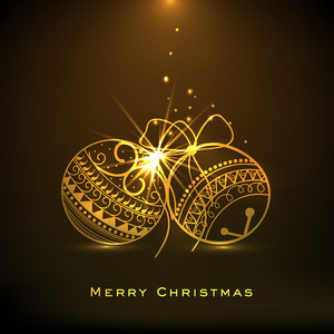 Golden christmas balls decorated with floral design on shiny brown background for Merry Christmas celebrations.