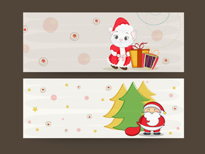 Website header or banner set for Merry Christmas celebrations on stylish background.