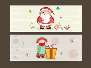 Website header or banner design for Merry Christmas celebrations with Santa Claus and cartoon of a girl on stylish background.