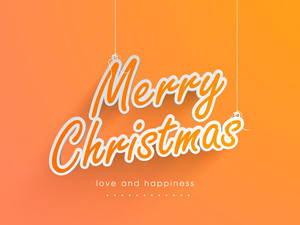 Stylish Hanging text Merry Christmas on orange background.