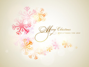 Beautiful snowflakes decorated greeting card design for Merry Christmas and Happy New Year celebrations.