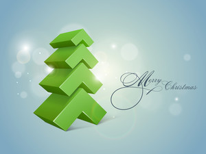 Stylish 3D Xmas tree for Merry Christmas celebrations on shiny blue background.