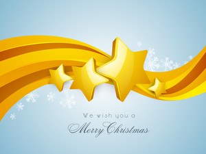 Shiny golden stars and wave on blue background for Merry Christmas celebrations.