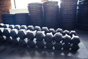 Closeup image of a dumbbells