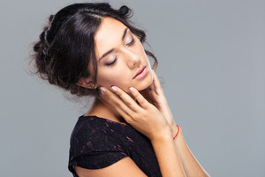 Beauty portrait of a cute woman with closed eyes
