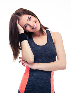Portrait of a smiling young fitness woman