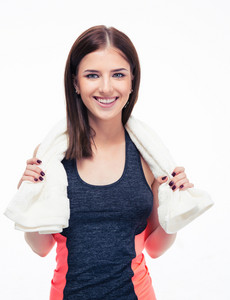 Portrait of a smiling sports woman with towel