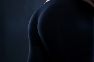 Closeup portrait of a sporty female buttocks