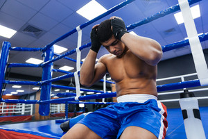 Boxer resting in gym