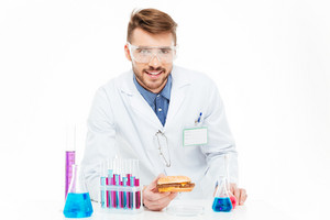 Chemist making gmos food