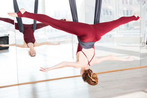 Woman doing pose of antigravity yoga using hammock