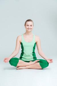 Happy woman meditating