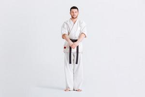 Full length portrait of a male fighter in kimono