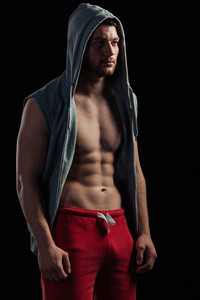 Fitness man looking away