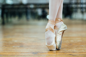 Female ballet dancer standing on toes