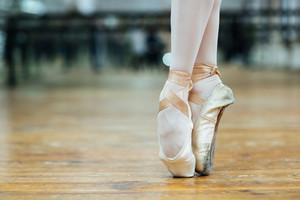 Female ballet dancer standing on toes