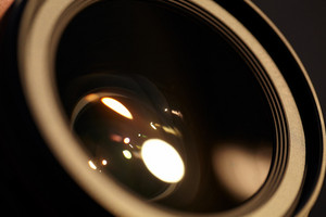 Photo lense with sun reflections