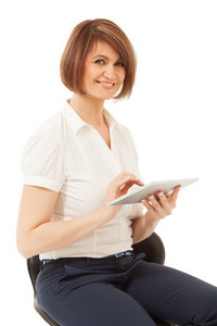 Beautiful smiling businesswoman holding pad