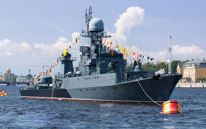 Military ship on neva river