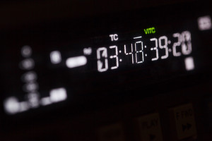 Timecode running on the professional video recorder.