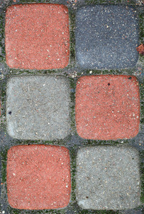 Colorful paved blocks