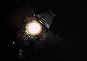 Studio floodlight on black background