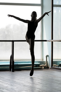 Ballet dancer in arabesque position