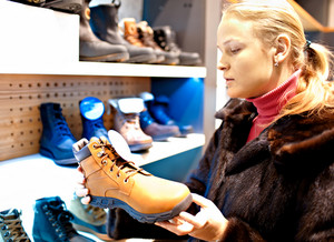 Woman in a shoe store
