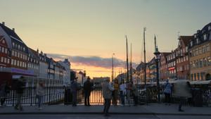 Copenhagen harbor at sunset