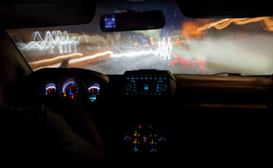 Speed driving in the city at night
