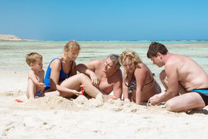 Big family on the beach