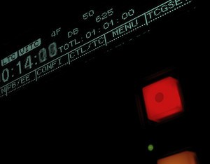 Macro shot-display of the broadcast video recorder