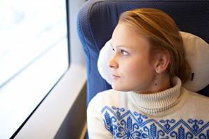 Young woman in the train