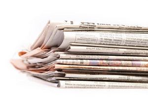 International newspapers on white