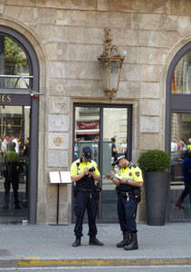 Two policemen in barcelona
